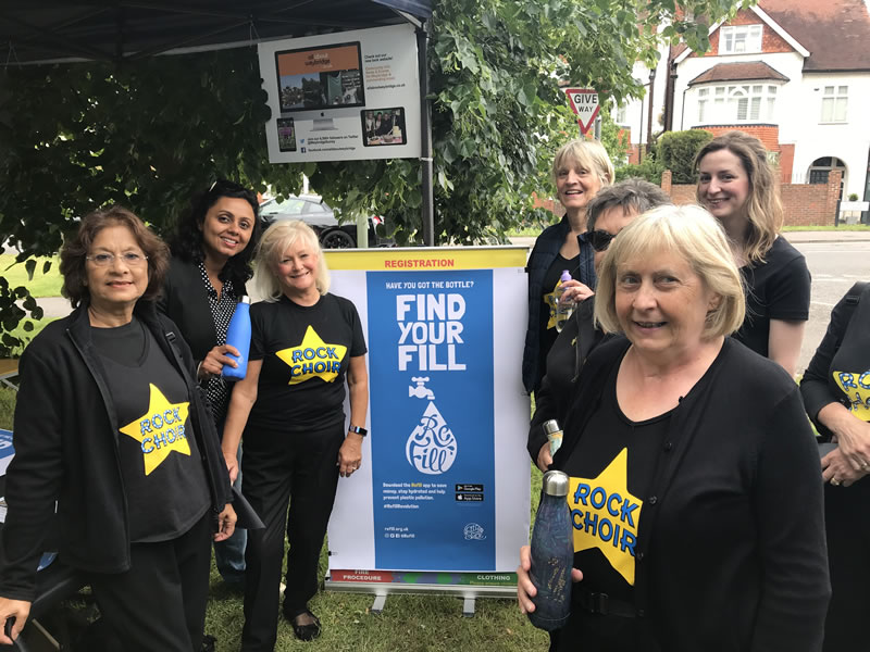 Weybridge and Esher Rock Choir at the Refill stall