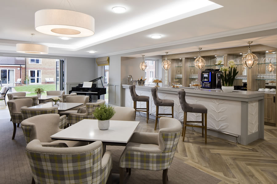 Residential Care - Piano and lounge at Shepperton Surrey Care Home