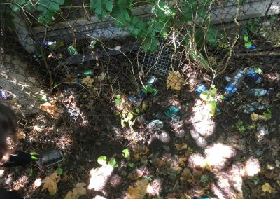Rubbish included Nitrous Oxide bulbs and alcoholic drink cans dumped along the path from Weybridge station to Brooklands
