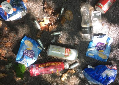 Weybridge Litter included Nitrous Oxide bulbs and alcoholic drink cans dumped along the path from Station to Brooklands