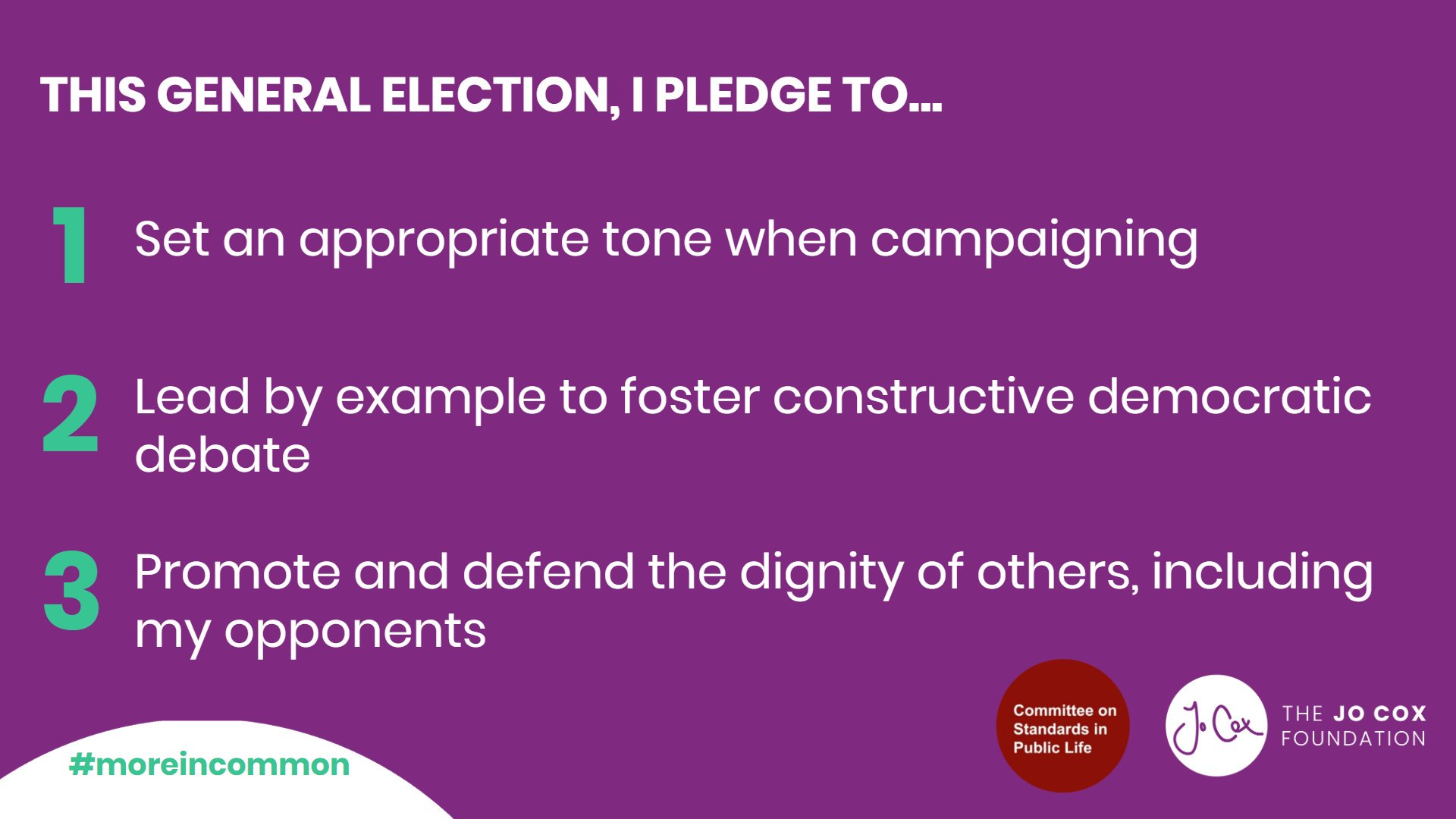 This #GE2019 we are calling on all candidates to participate in a respectful campaign. We encourage them to share this strong, positive message of kindness and #moreincommon.