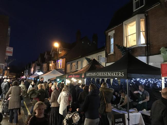 Merry Christmas Weybridge Market and Lights Switch On