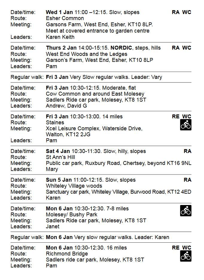 Elmbridge Borough Council Healthy Walks January 2020