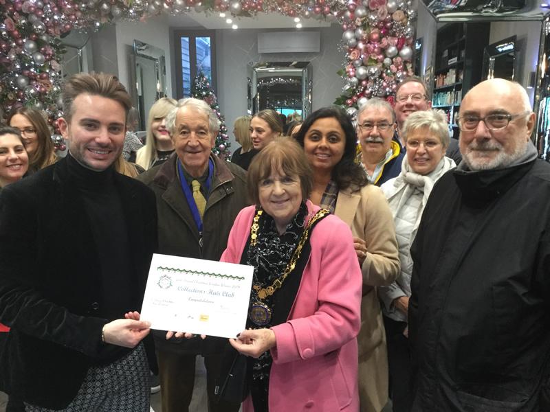 Elmbridge Mayor Awarding Collections Hair Club with Award - Winners of Weybridge In Bloom Best Dressed Window Competition