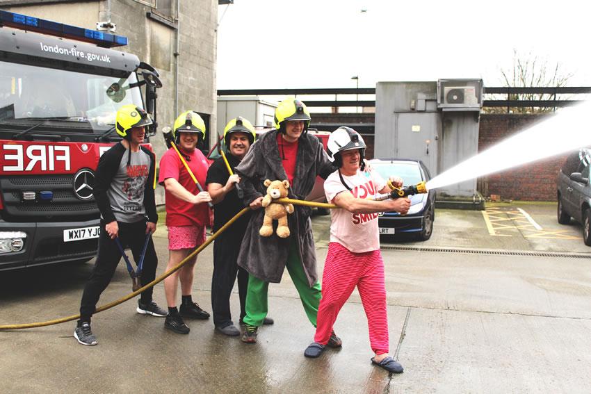 New Malden Firemen in Pyjamas supporting Night Nurses of Princess Alice Hospice Charity