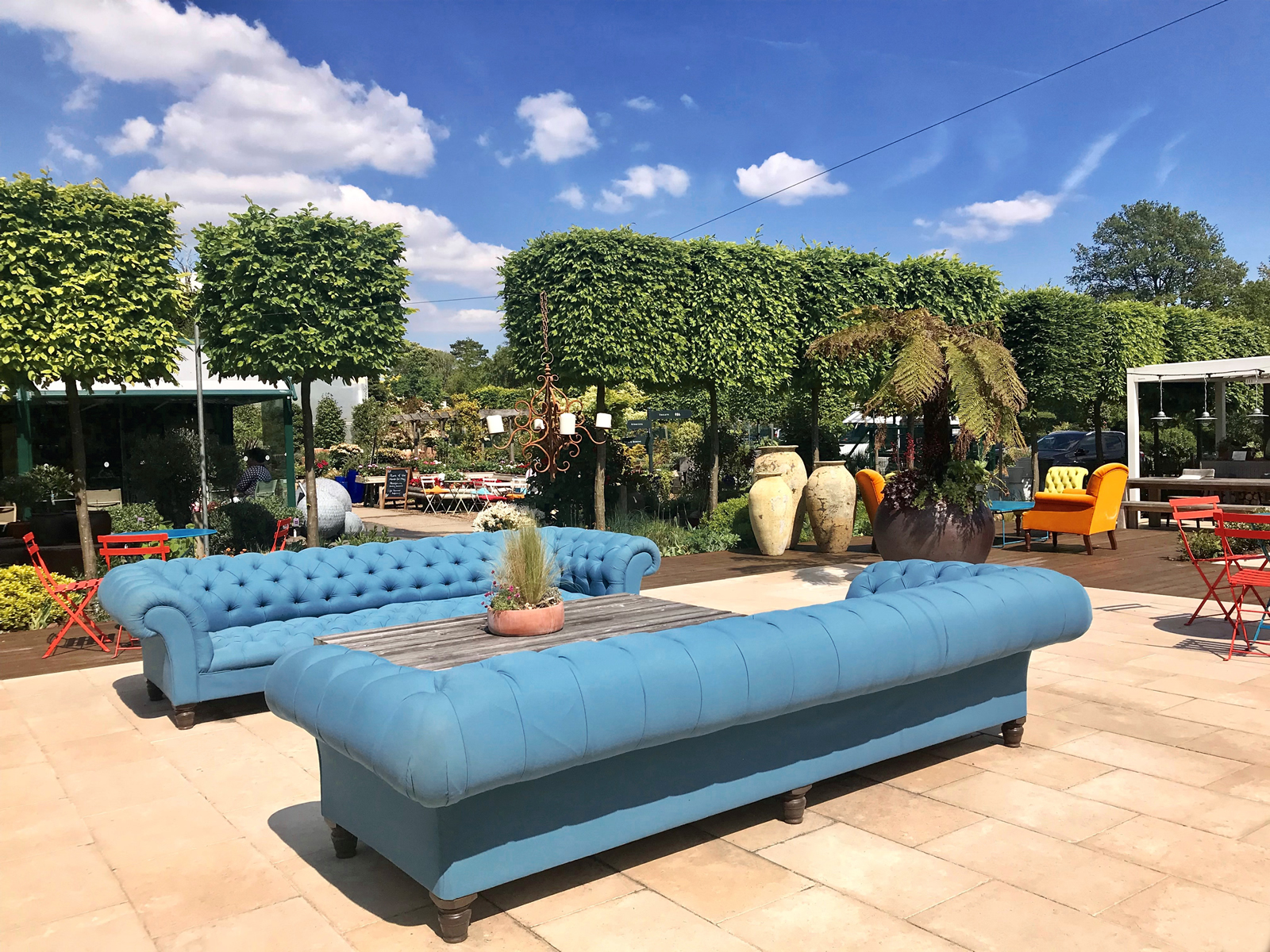 Weybridge show garden, created by our designers and landscapers, with luxury garden furniture