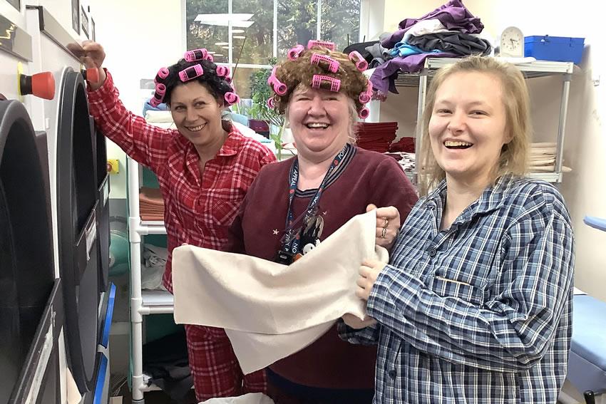Sunrise Senior Living staff in Pyjamas supporting Night Nurses of Princess Alice Hospice Charity