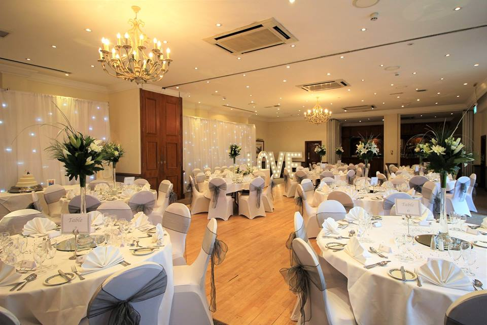 Wedding Breakfast Table Arrangement at Ship Hotel Weybridge Surrey