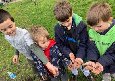 Children enjoying worms found at Weybridge digging event