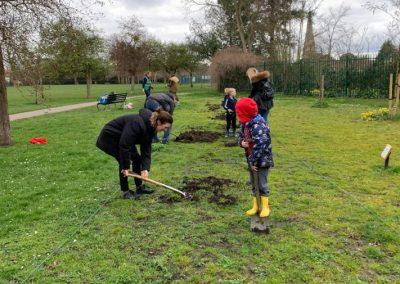 Children start digging in Churchfields Recreation Ground Weybridge