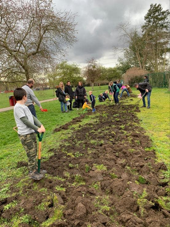 Weybridge In Bloom Digging at Churchfields Recreation Ground