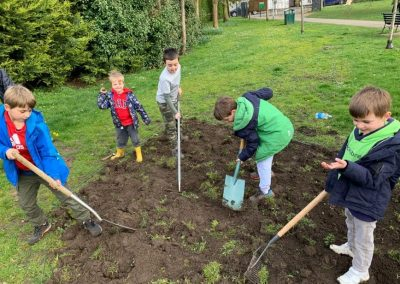 Weybridge In Bloom Wild Flower Bed Digging at Churchfields Recreation Ground