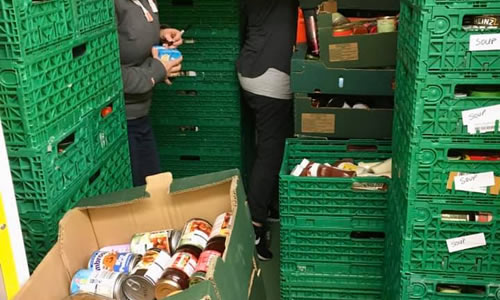 Sourcing and sorting food at Walton-on-Thames and Hersham Foodbank