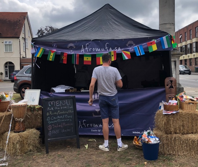 Afro Mufasa stall at Weybridge August Market selling South African food