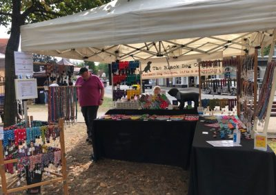 Black Dog Company stall at Weybridge August Market - Handmade dog accessories
