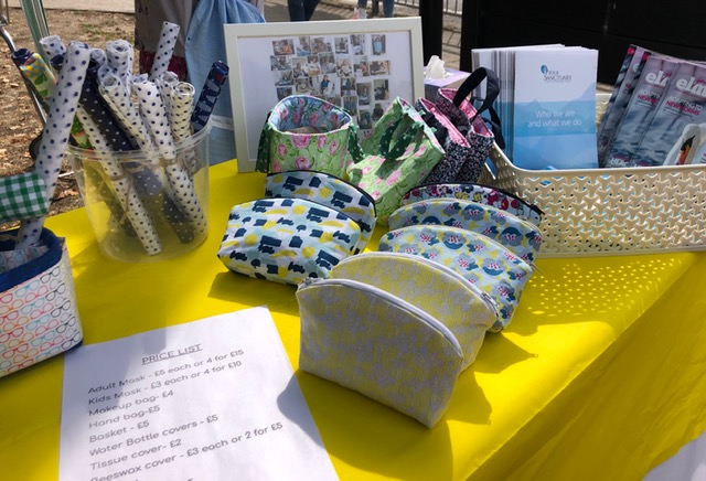 Face masks at Sew Weybridge stall at August Market