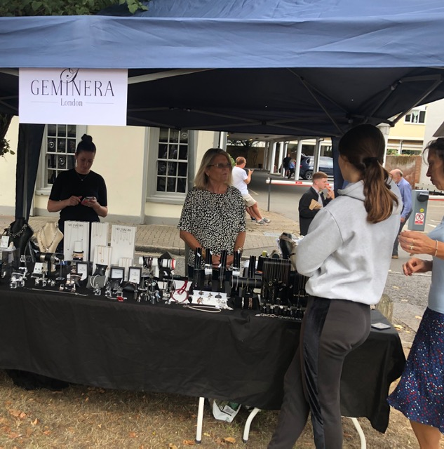 Geminera stall at Weybridge Market - Beautiful jewellery and gifts