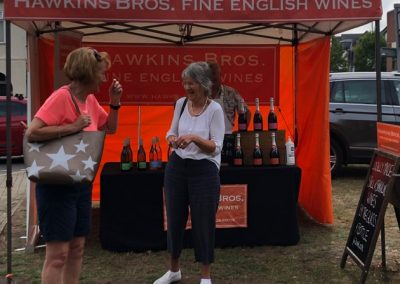 Hawkins Bros stall at Weybridge market - Fine English Wines by the glass and bottle