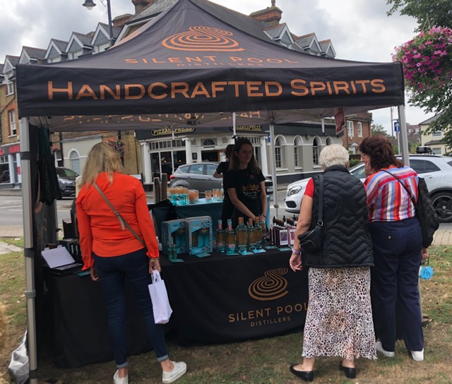 Silent Pool Gin stall at Weybridge Market in August – Handcrafted, premium spirits