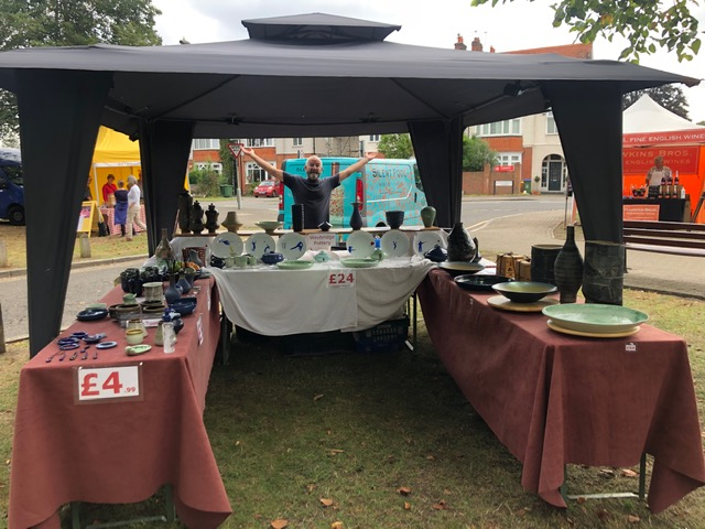 Weybridge Pottery stall at August market on Monument Green