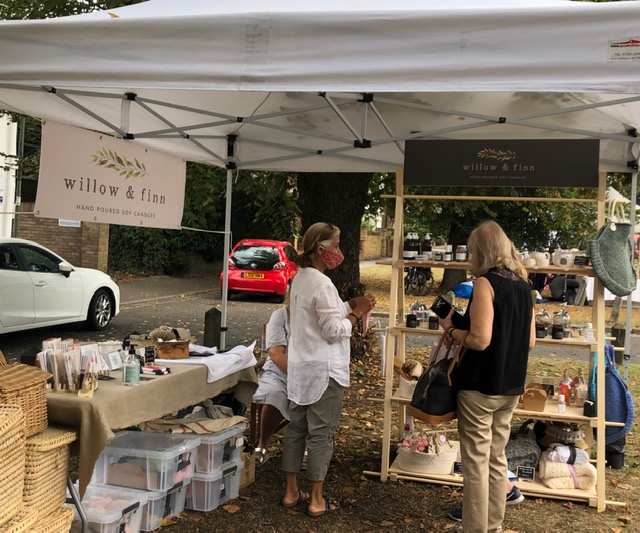 Willow & Finn stall at Monument Green Weybridge - Candles and other gifts