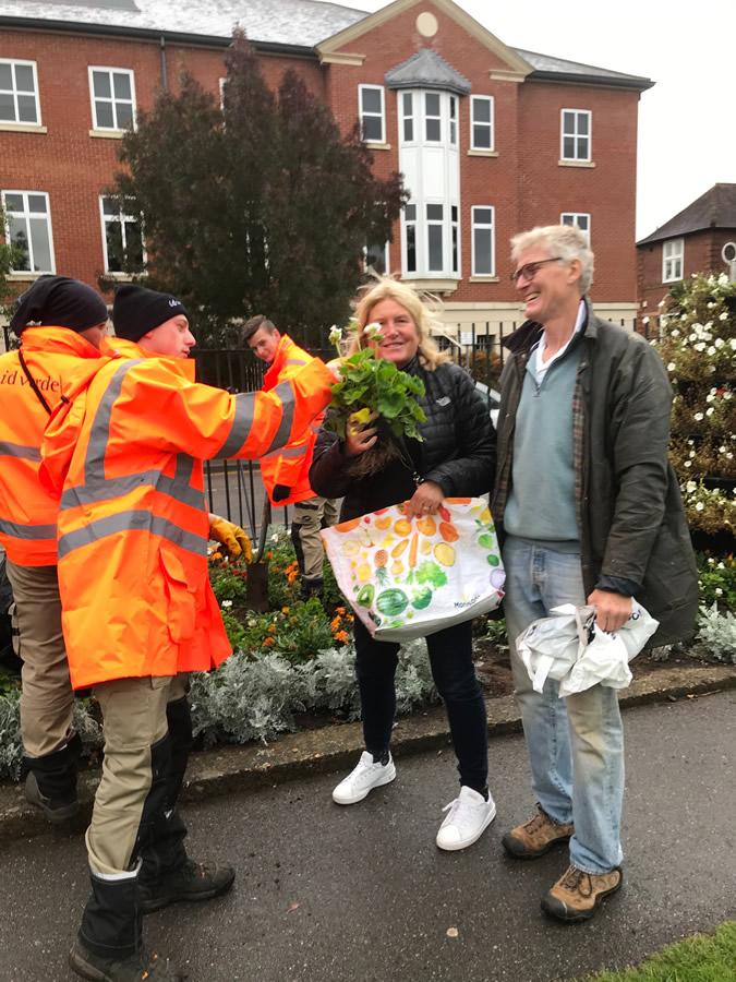 Public receive bedding plants Recycling - Churchfields Recreation Ground Weybridge Surrey