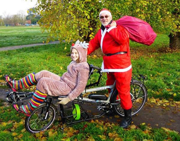 Cycling -Santa Fun Run - Fun Fundraising for Princess Alice Hospice Esher Elmbridge Surrey