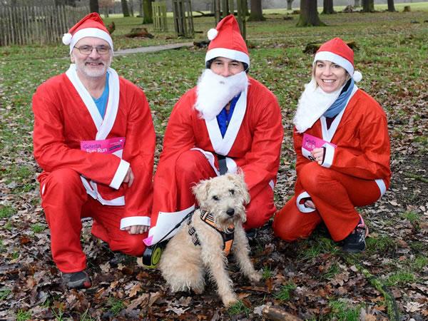 Santa Fun Run - Walking with dog - Fundraising for Princess Alice Hospice Elmbridge Surrey
