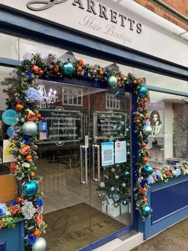 Garretts Hair Boutique Weybridge Christmas Window Decorations