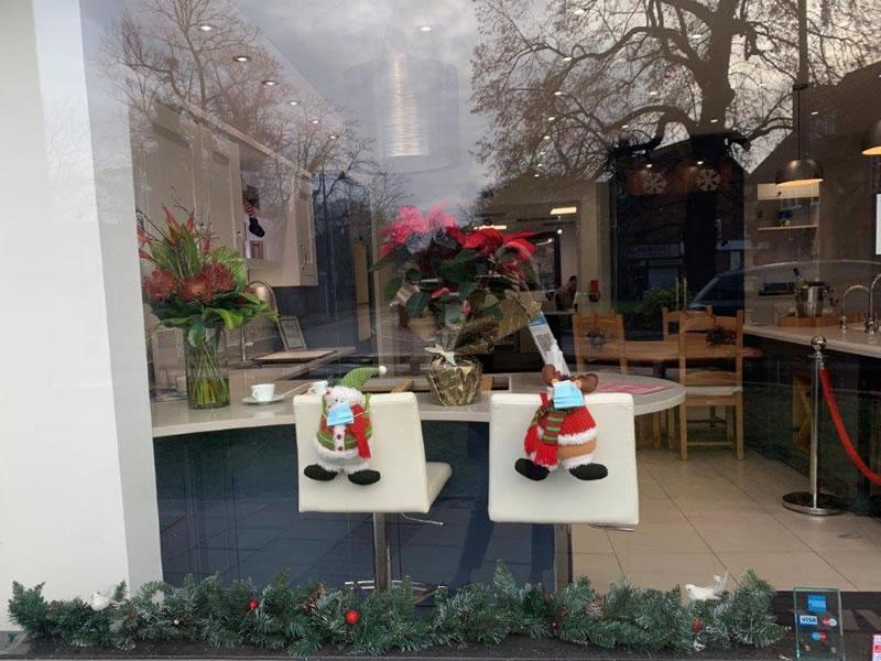 Wooden Heart of Weybridge Kitchens - Christmas Window Decorations