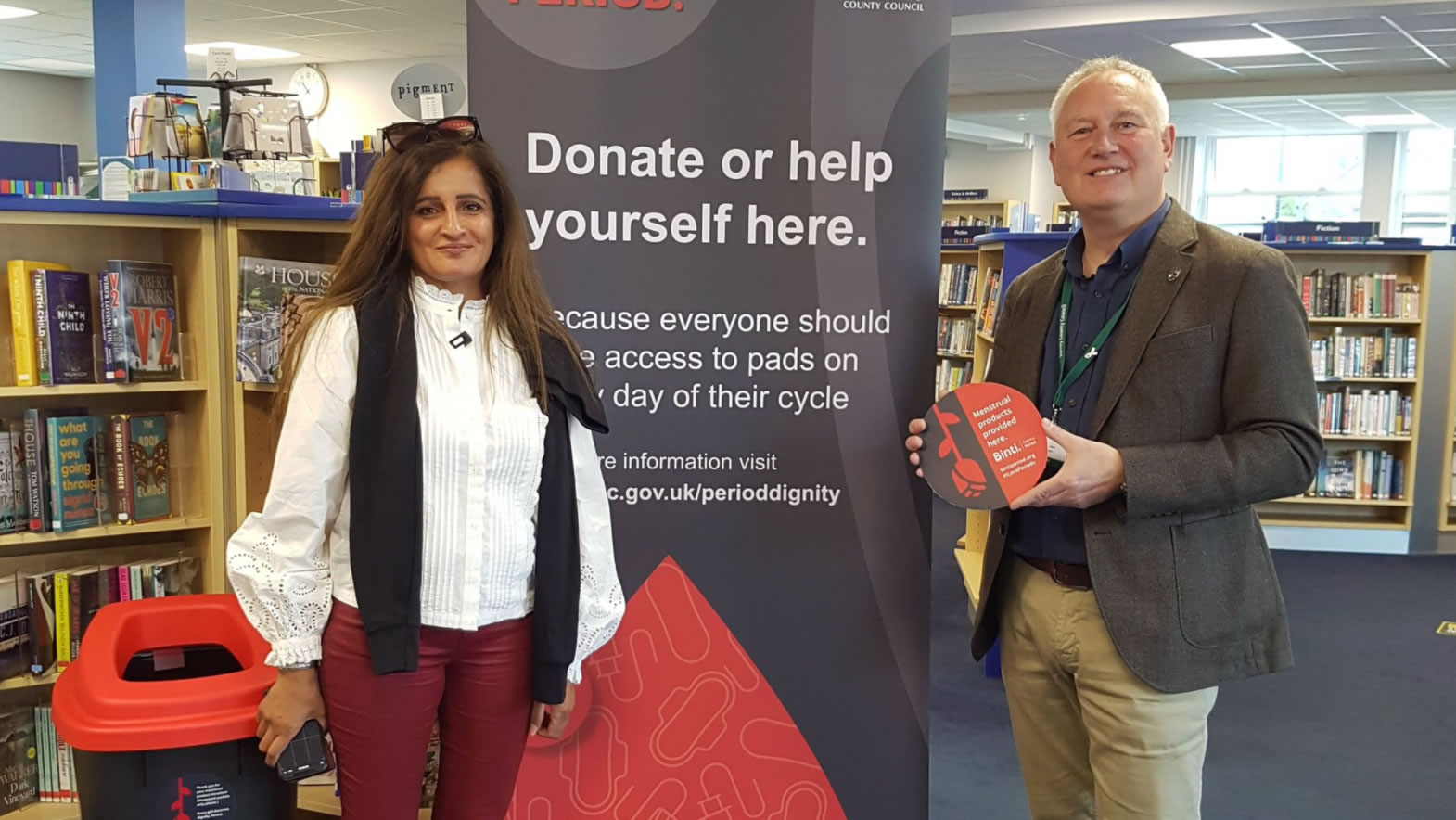 Weybridge Library is participating in Surrey County Council and Binti scheme to offer free Period products