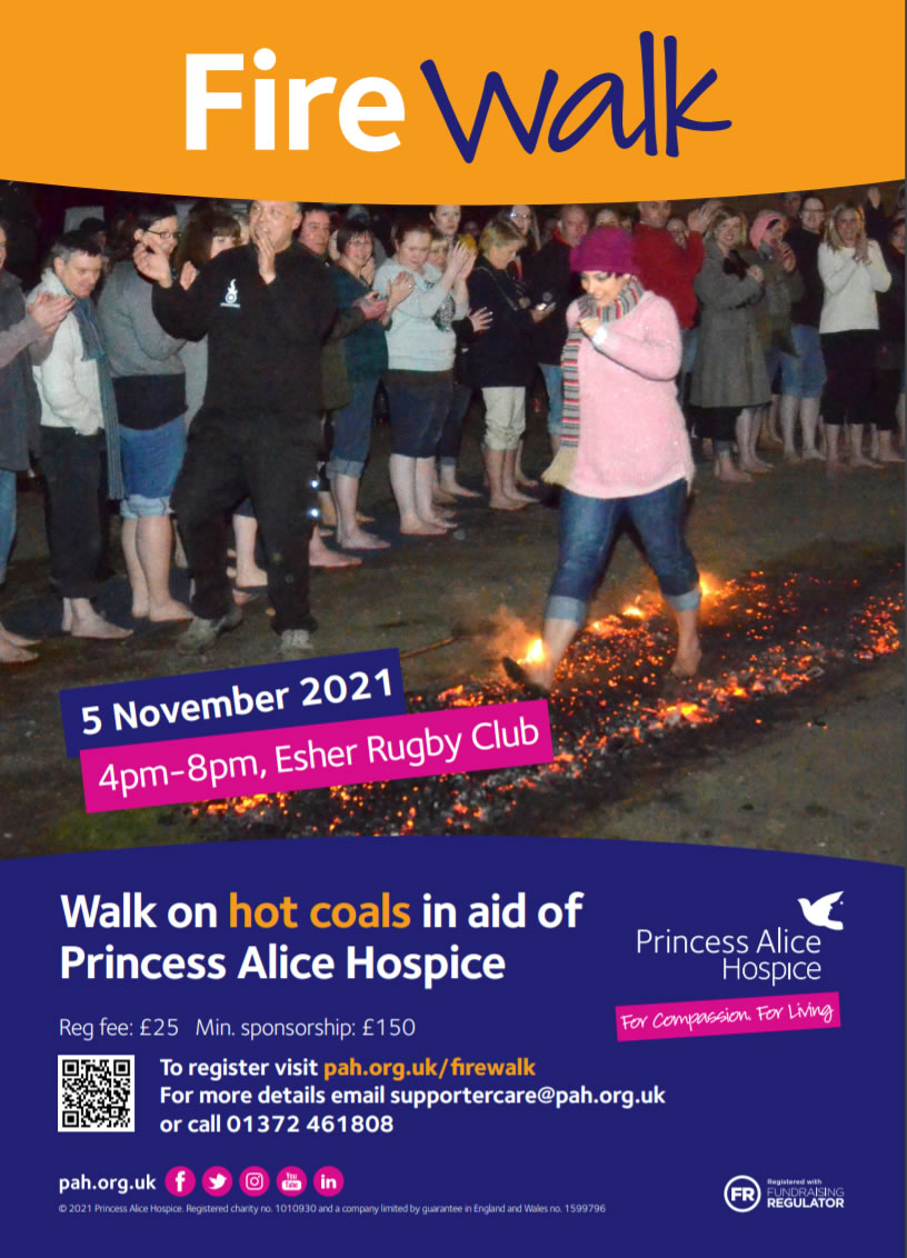 Esher Rugby Club - Firewalk event for Princess Alice Hospice - includes Fireworks Display
